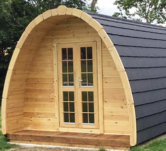 Wooden Glamping Pods for Gardens, Campsites or Farms, Sold by Synergy, Installation and Planning