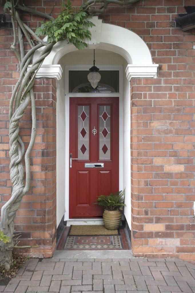 Red composite front door