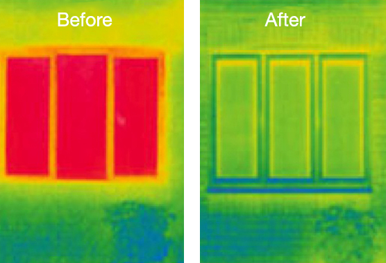 Thermal Image of double glazed windows before and after installation of new double glazed windows