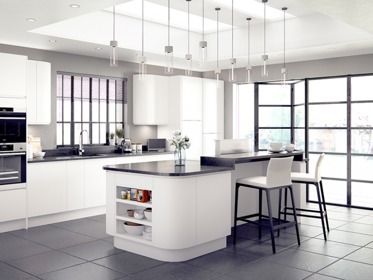 White high gloss kitchen doors for kitchen makeover