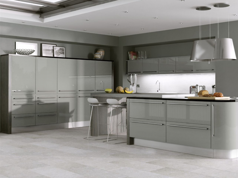 Grey high gloss kitchen doors for a kitchen makeover