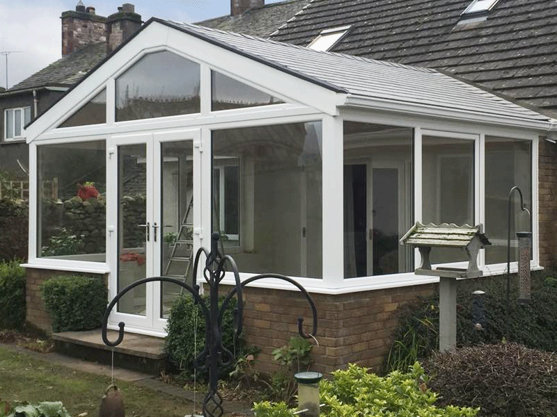 Gable front conservatory with tiled Guardian roof installed by Synergy in Penrith