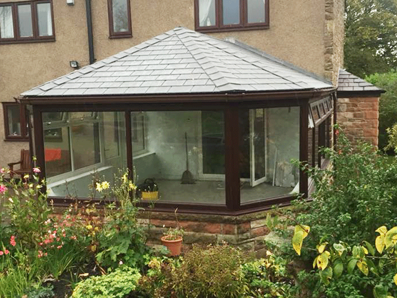 Rosewood hipped Edwardian tiled conservatory roof installed by Synergy in Cumbria