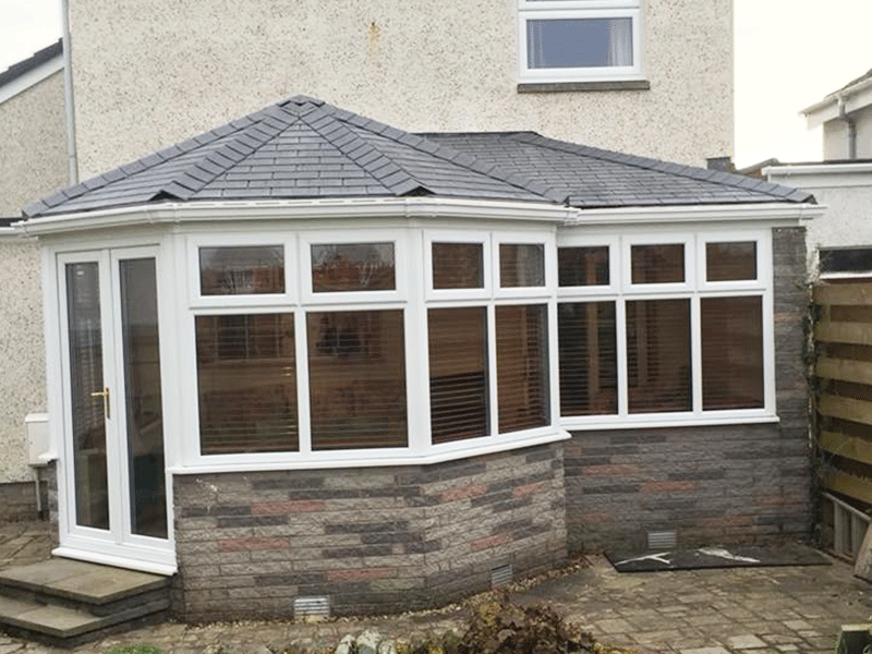 P Shaped tiled conservatory roof installed by Synergy in Dumfries