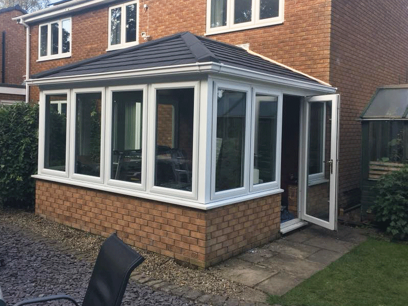 Edwardian guardian roof on a conservatory