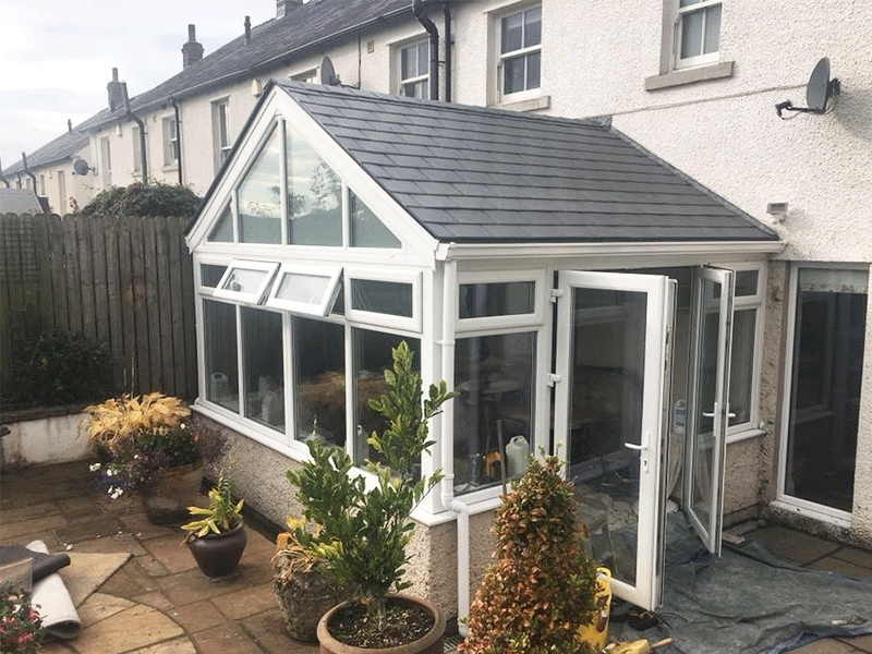 Gable front Tapco slate conservatory roof in Penrith