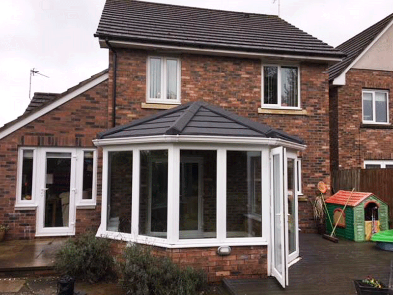 three facet victorian tiled conservatory roof installed by Synergy in Cumbria