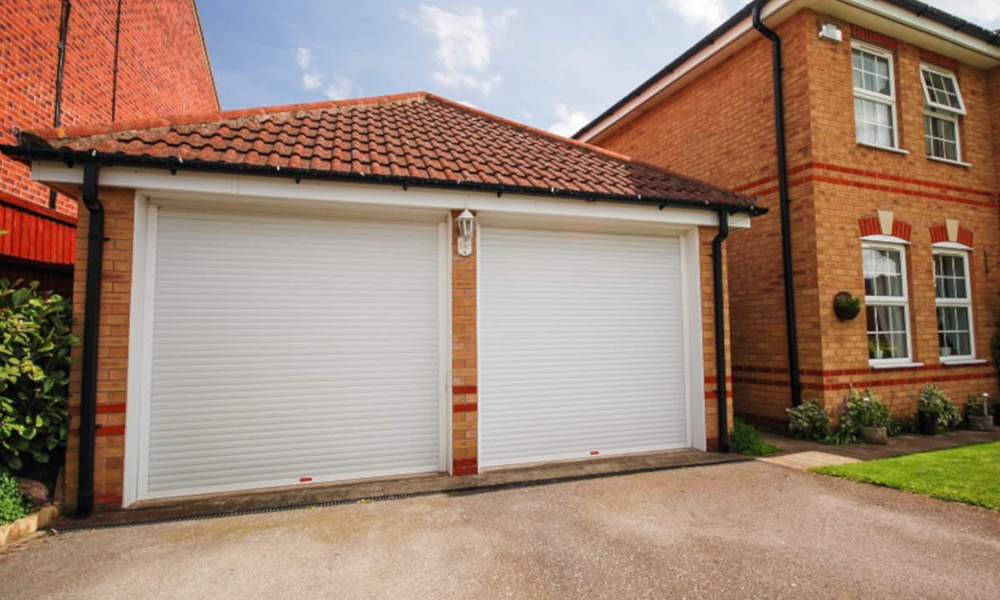 white double roller shutter garage doors