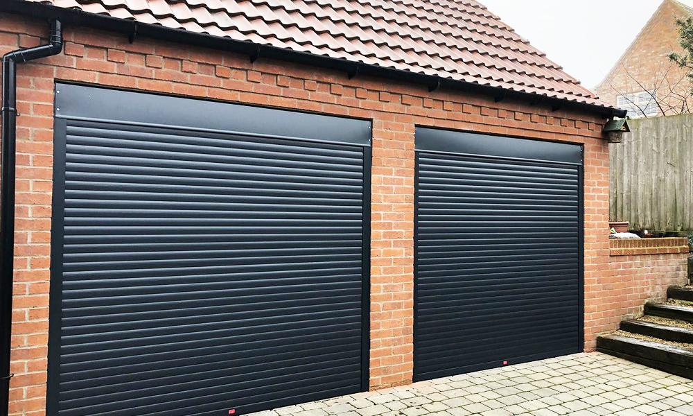 black electric roller shutter garage doors