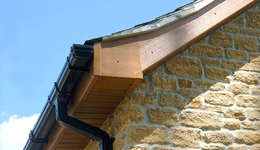 roofline showing soffits, facia and gutters